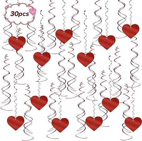 Matogle 30 St/ück Herz Girlande h/ängende Rote Herzen Banner Spirale Wirbelt Hochzeit Valentinstag Schnur Dekoration f/ür Zuhause Jubil/äum Hochzeit Geburtstag Single Party Baby Shower
