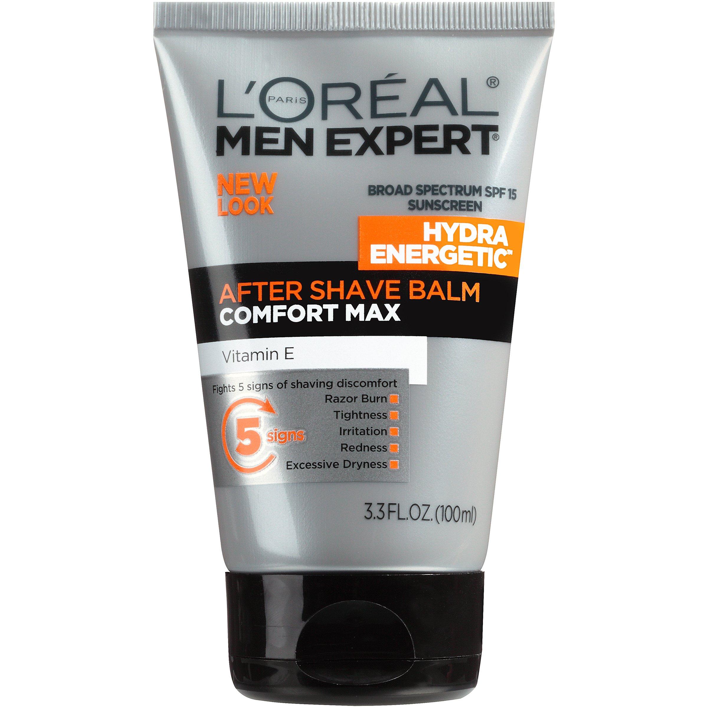 L'Oréal Paris Skincare Men Expert Hydra Energetic Aftershave Balm for Men with Vitamin E, 3.3 fl. oz.