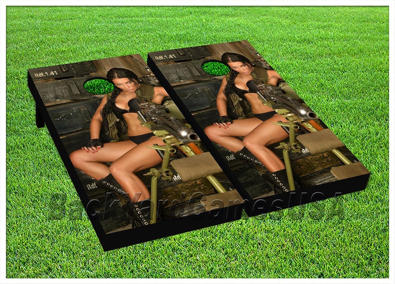 Cornhole Beanbag Toss GameゲームボードセクシーLadyガンカモセットWバッグ972 B07792195D