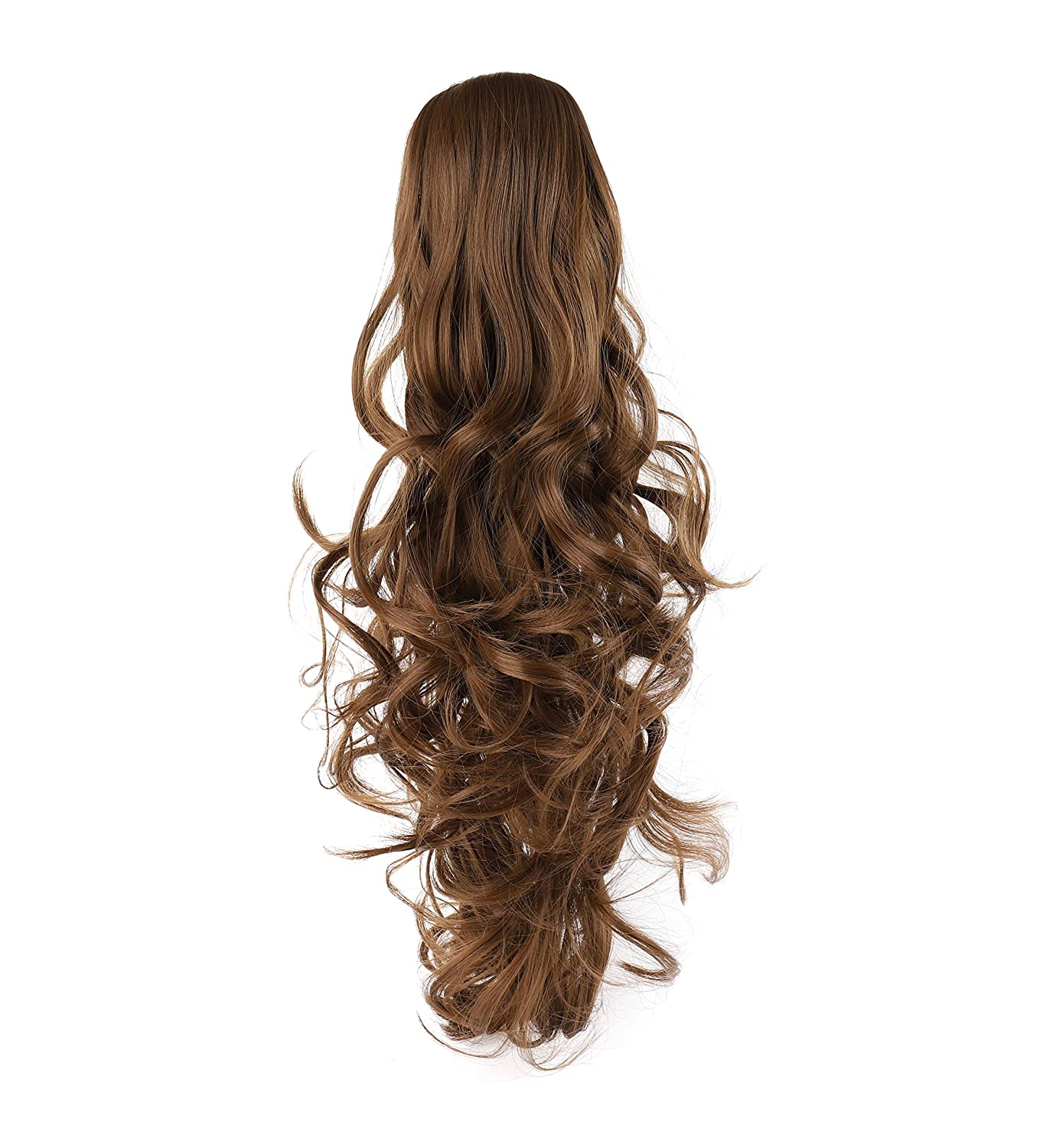 OneDor 20 Curly Synthetic Clip In Claw Drawstring Ponytail Hair Extension Synthetic Hairpiece 190g with a jaw/claw clip (1#-Black)