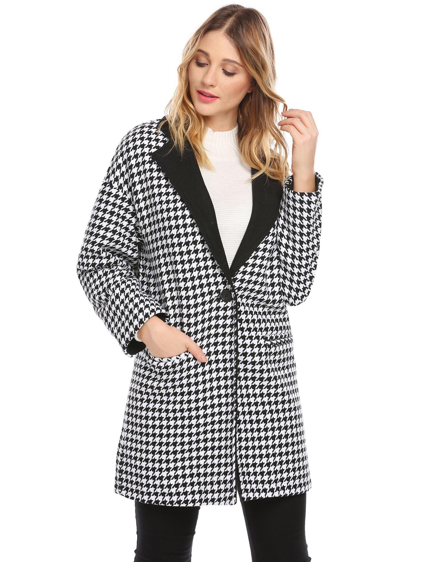 Soteer Women Single Button Plaid Wool Long Trench Coat Polo Jacket Blazer Black S