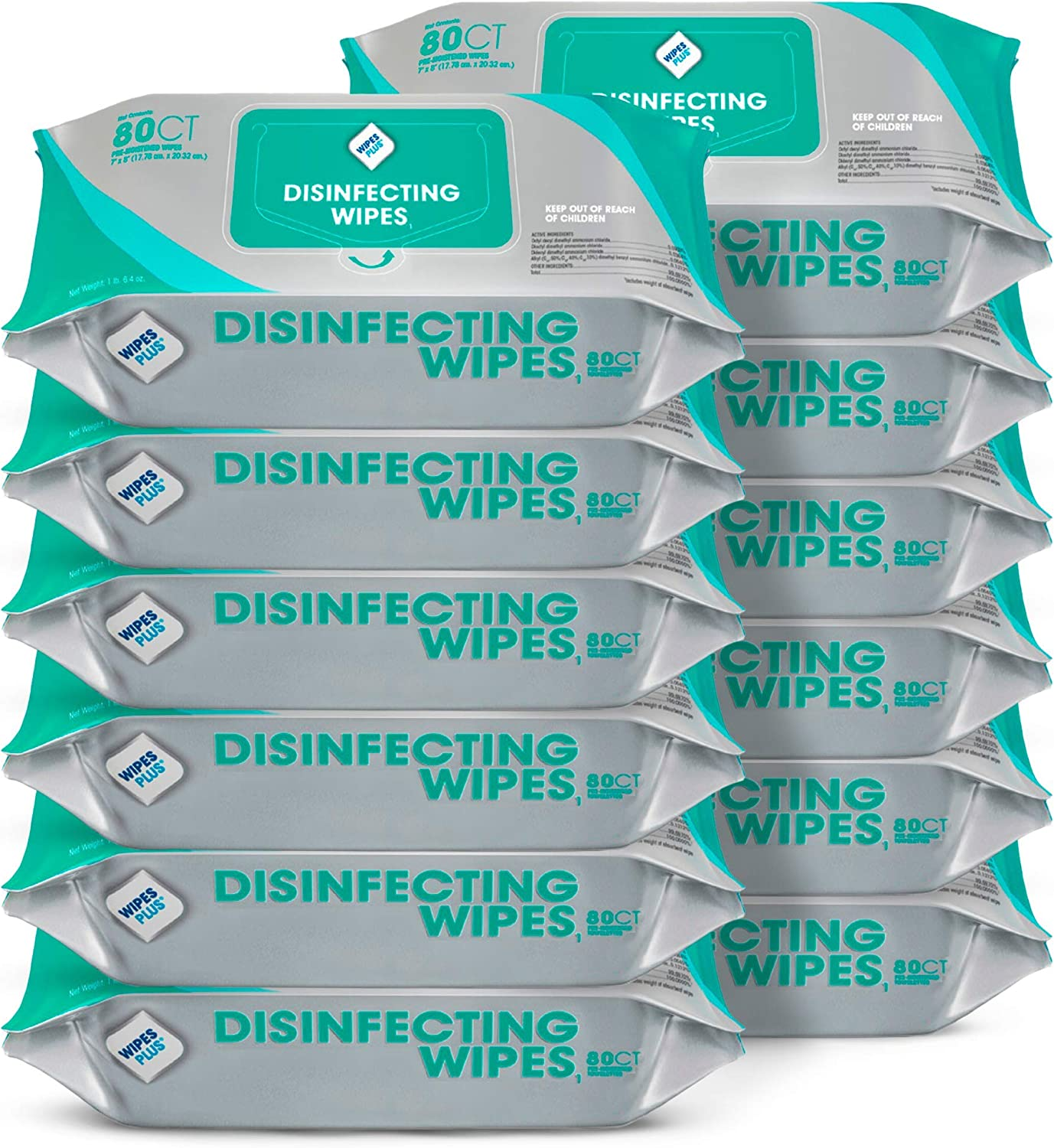 WipesPlus Disinfecting Wipes Bulk (960 Total Wipes) - 12 Packs of Industrial Strength Sanitizing Wipes - 80 Disinfectant Wipes per Pack - Made in USA
