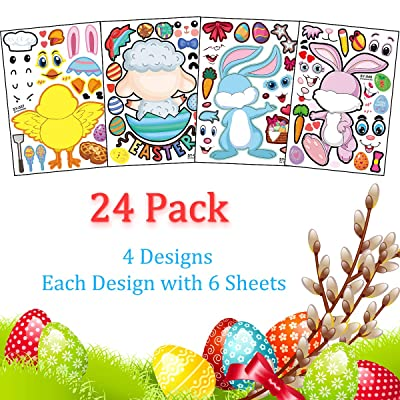 Make Your Own Easter Stickers for Kids, 24 Sheets Make a Face Stickers with Bunny, Chick, Lamb Mix Match Kids DIY Party Favor Supplies Craft: Arts, Crafts & Sewing