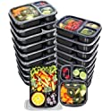 20-Pack Utopia Kitchen 32 Oz. 3 Compartment Meal Prep Containers