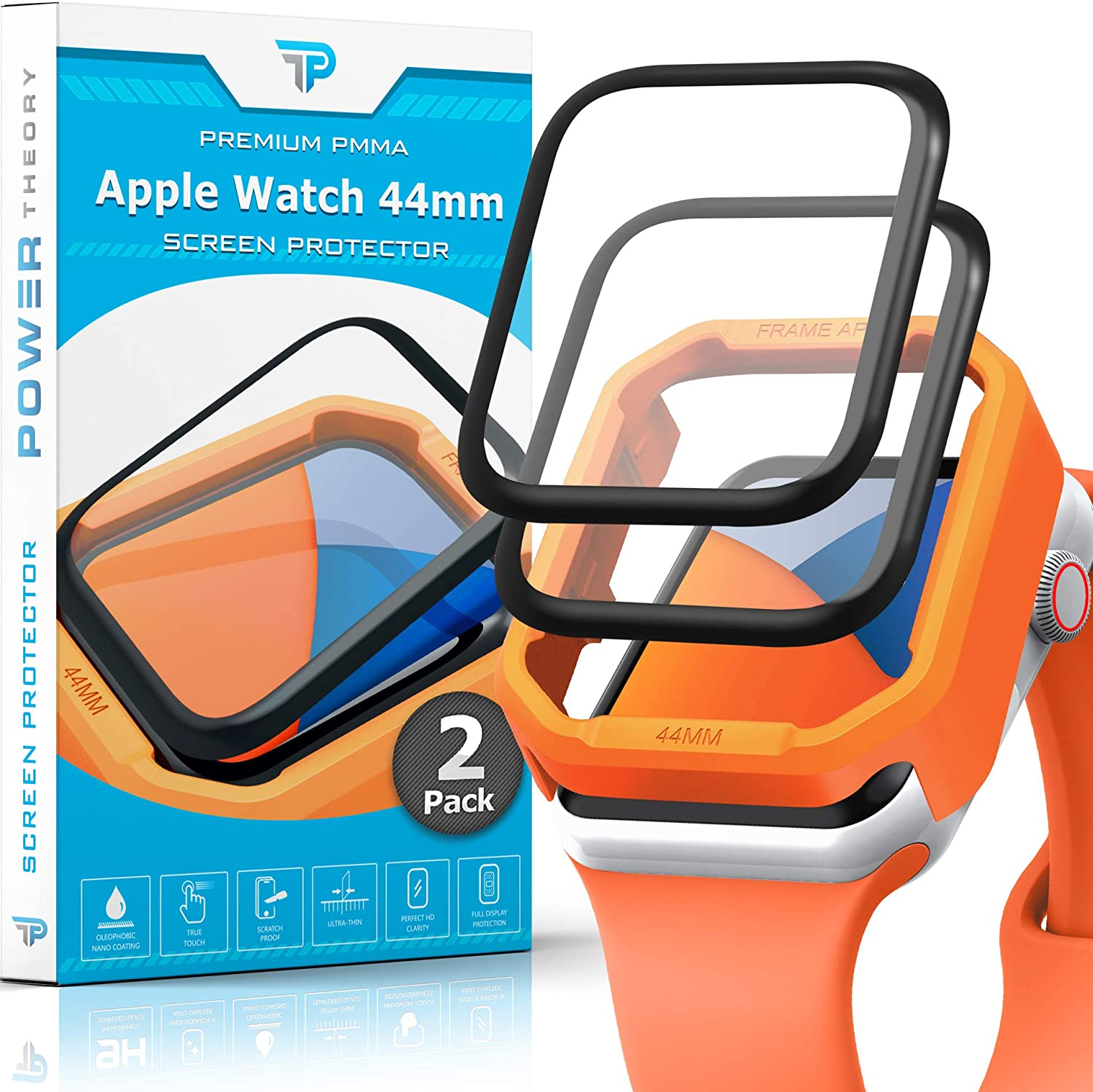 Power Theory Screen Protector for Apple Watch 44mm [2-Pack] with Easy Install Kit, Premium PMMA Protection [NOT GLASS]