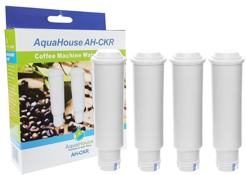 4x AquaHouse AH-CKR compatible para Krups Siemens Aqua Claris YX103201 Melitta Pro Cafetera