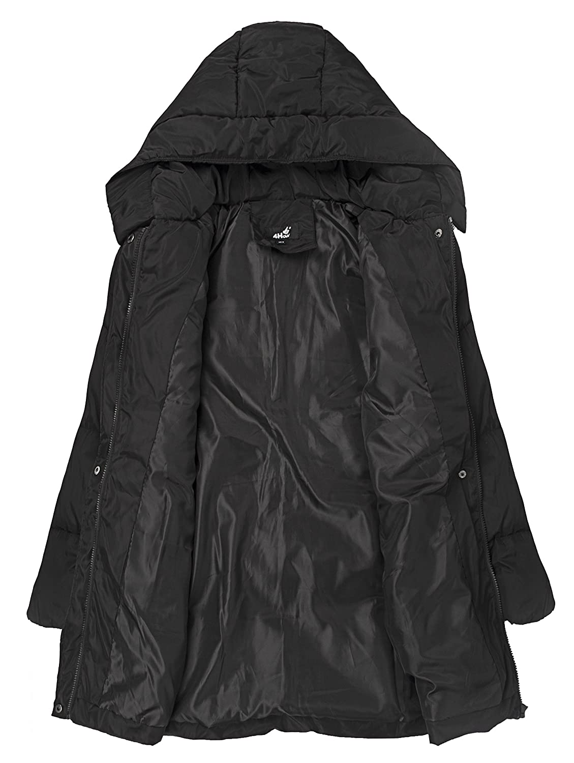 72fcf79efd Amazon.com  4HOW Women s Hooded Packable Puffer Down Jacket Winter Parka  Coat Black US Size 6  Clothing