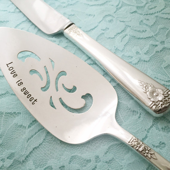 Vintage cake server and knife SET hand stamped mr by LoreleiVella