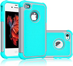 Tekcoo for iPhone 4S Case, Tekcoo iPhone 4 / 4G Cover, [Tmajor] Shock Absorbing Hybrid Best Impact Defender Rugged Slim Grip Bumper Cover Shell Plastic Outer & Rubber Silicone Inner [Gray/Turquoise]