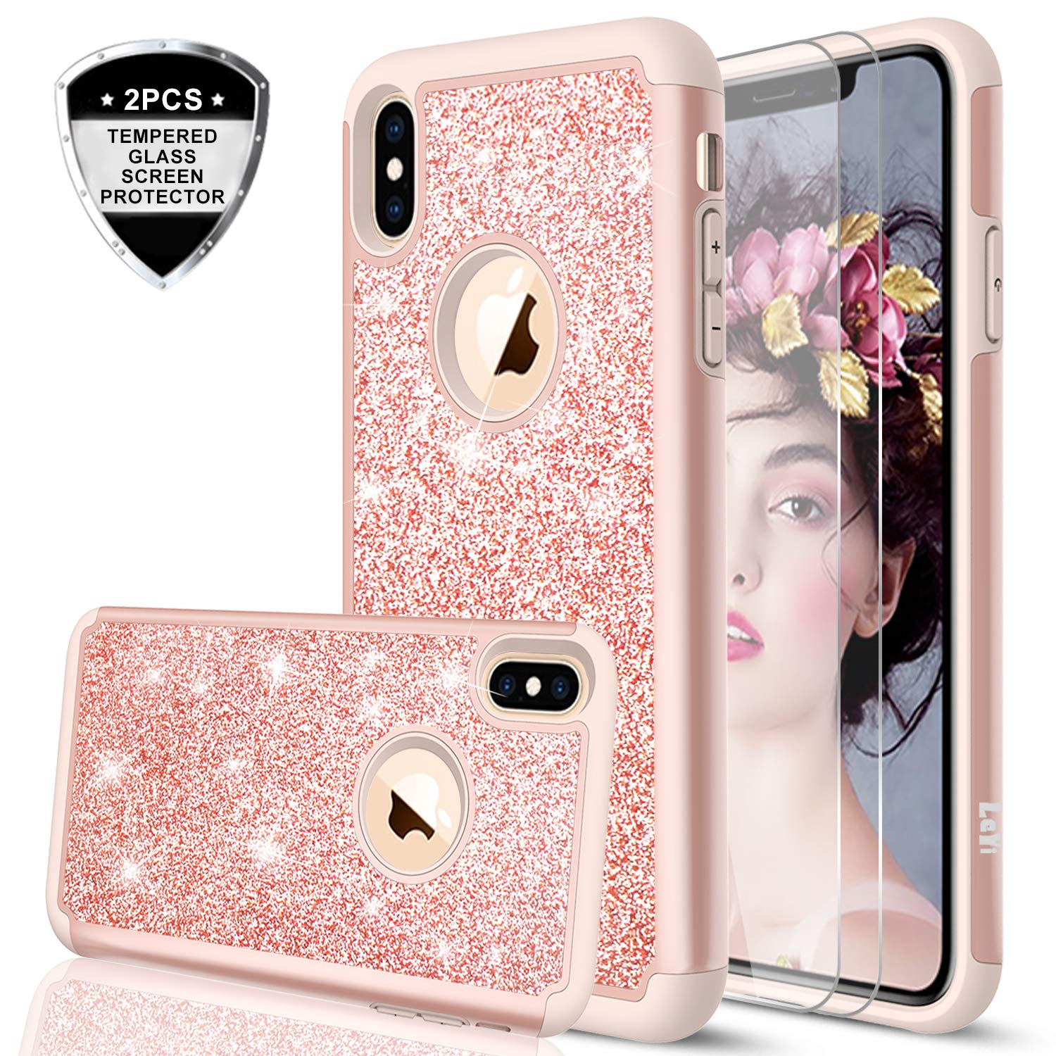 iPhone Xs MAX Case (2018) with Tempered Glass Screen Protector [2 Pack] for Girls Women, LeYi Glitter Bling Dual Layer Protective Phone Case Cover for iPhone Xs MAX (6.5') TP Rose Gold 4344596376