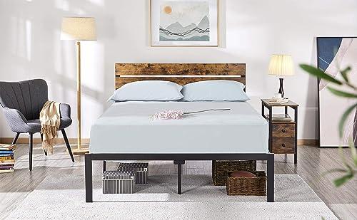 YAHEETECH Rustic Style Metal Platform Bed Frame Mattress Foundation w/Heavy Duty Steel Slat Anti-Slip Support Easy Assembly