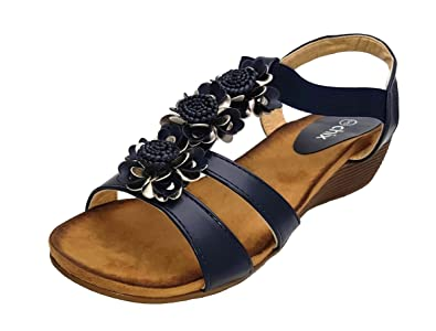 b0aae06198930 chix Womens Navy Flower Trim Sandals Stretch Front Strap  Amazon.co ...