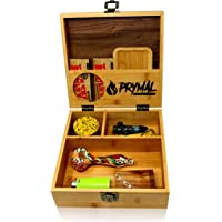 Large Stash Box With Lock and Key and Rolling Tray - Premium Black Walnut and durable Bamboo Wood - Organize Your Accessories by Prymal Products