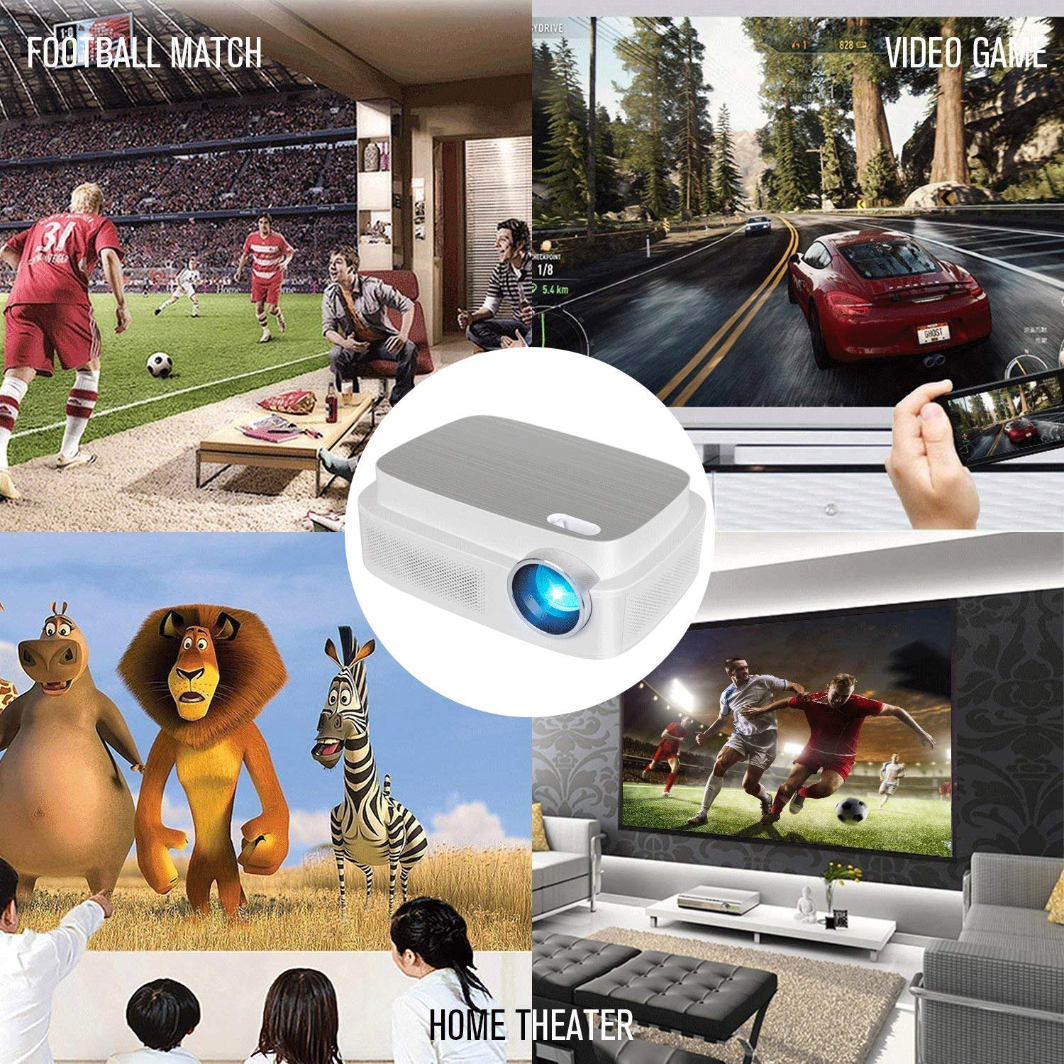 Portable Projector -12000 lumens WiFi 1080p Video Projector LCD LED Full HD Theater Projector, Ideal for Home Entertainment by GAOAG (Image #7)