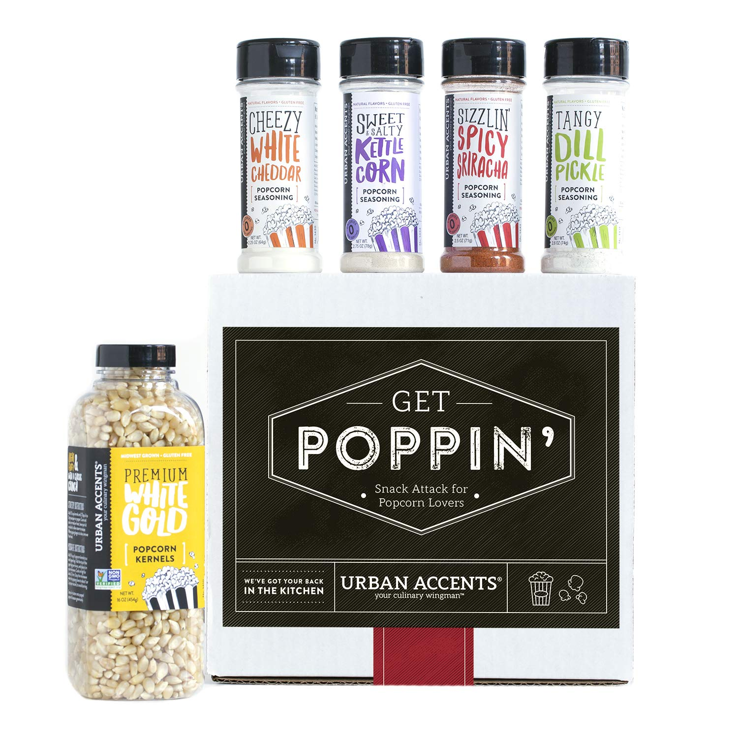 CDM product Urban Accents GET POPPIN', Gourmet Popcorn Seasoning Gift Set (Set of 5) - Delicious Non-GMO Popcorn Kernels and 4 Gourmet Popcorn & Snack Mix Seasonings- Perfect Gift for Any Occasion big image