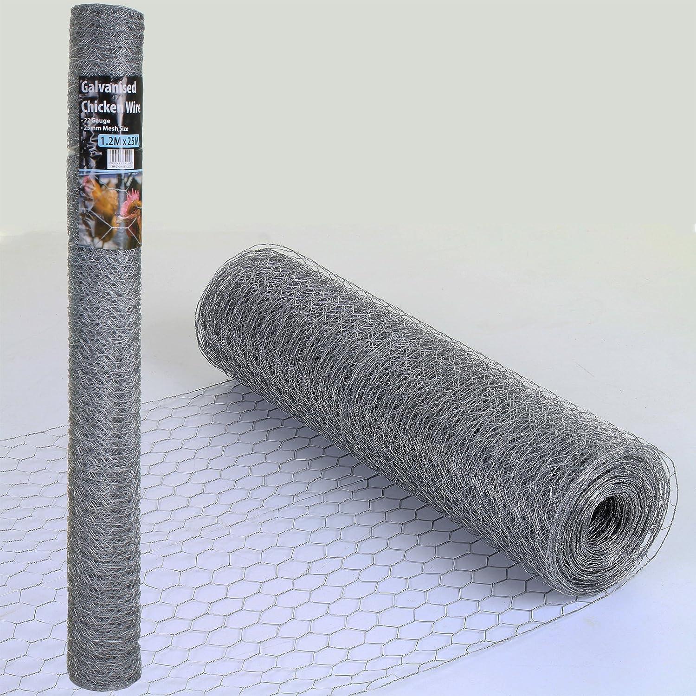 600mm x 50mm x 20G x 25M Marko Fencing Chicken Wire Mesh Fencing Rolls Netting Garden Outdoor Galvanised Cage 25mm//50mm