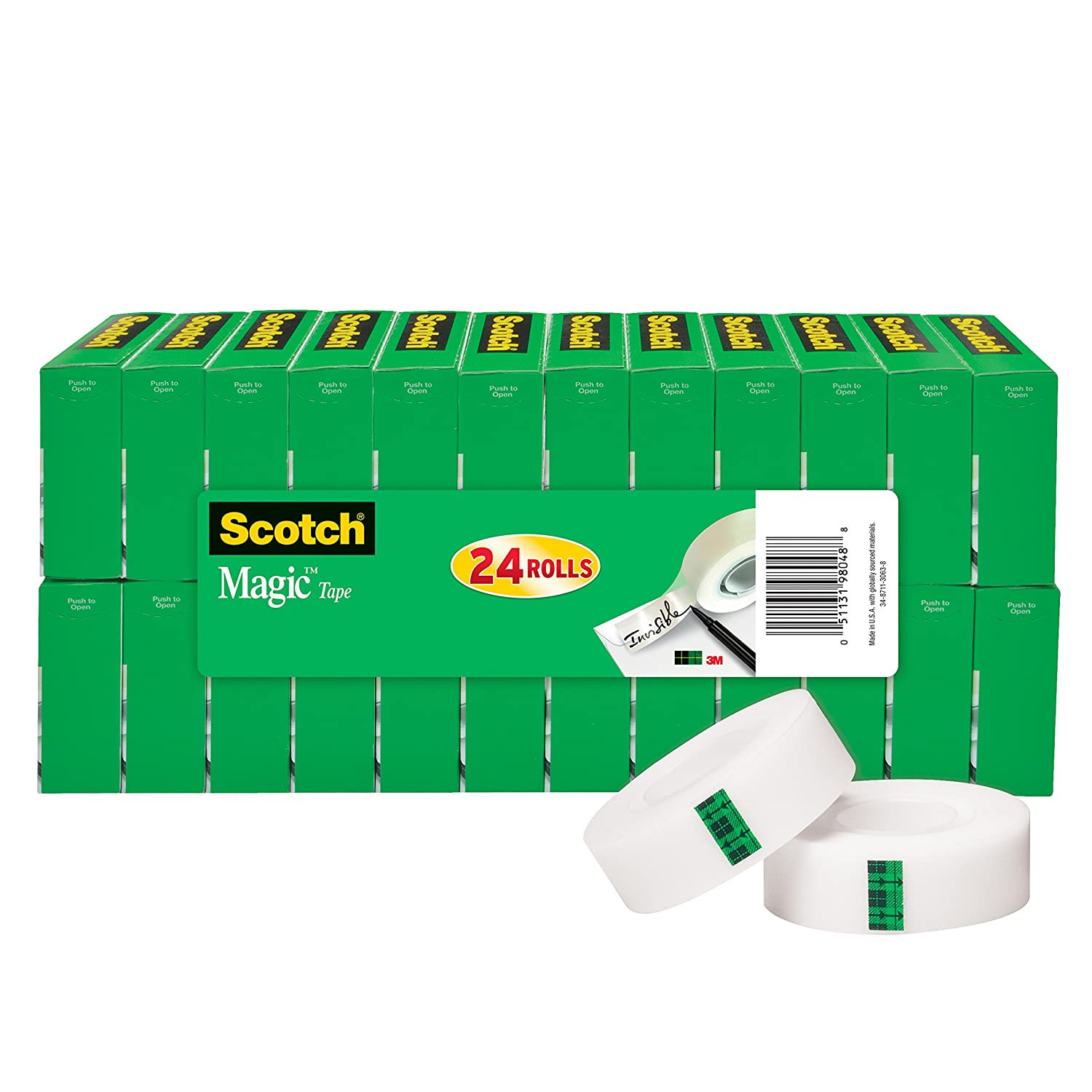 Scotch Brand Magic Tape, Standard Width, Versatile, Invisible, The Original, Engineered for Office and Home Use, 3/4 x 1000 Inches, Boxed, 24 Rolls (810K24)