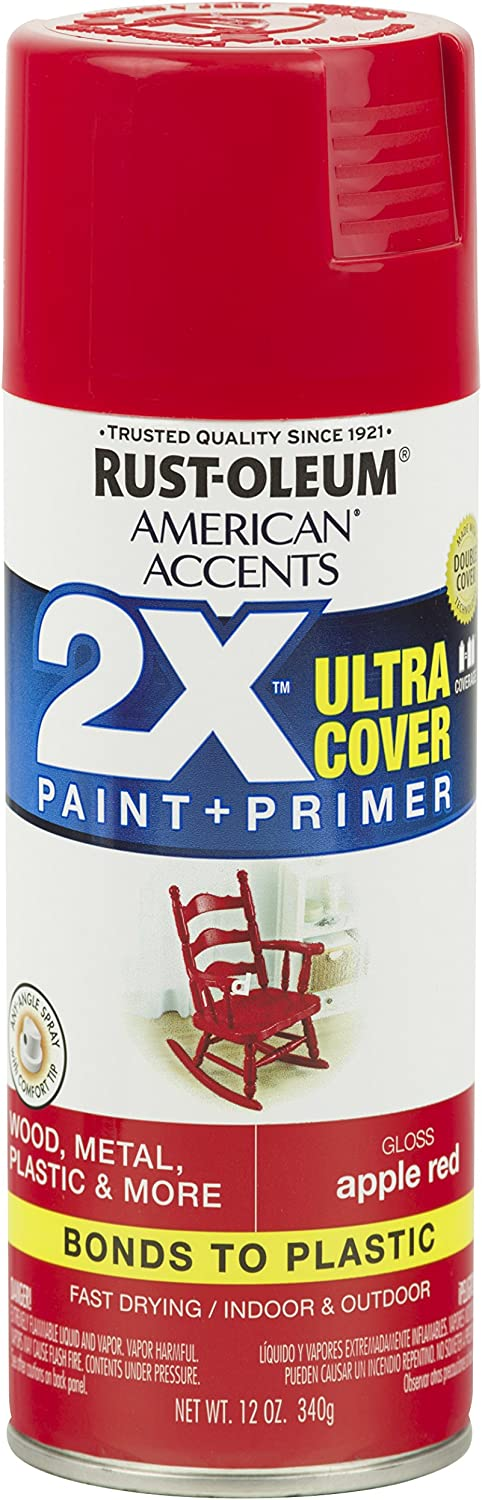 Rust-Oleum 327875 American Accents Ultra Cover 2X, 12 Oz, Gloss Apple Red