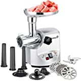 Ivation 1800 Watt 2.5 hp Electric Meat Grinder Mincer, Sausage Maker/Heavy Duty with 3 pcs Stainless Steel Cutting Blades, Sausage Stuffing Tubes & Kibbe Attachment