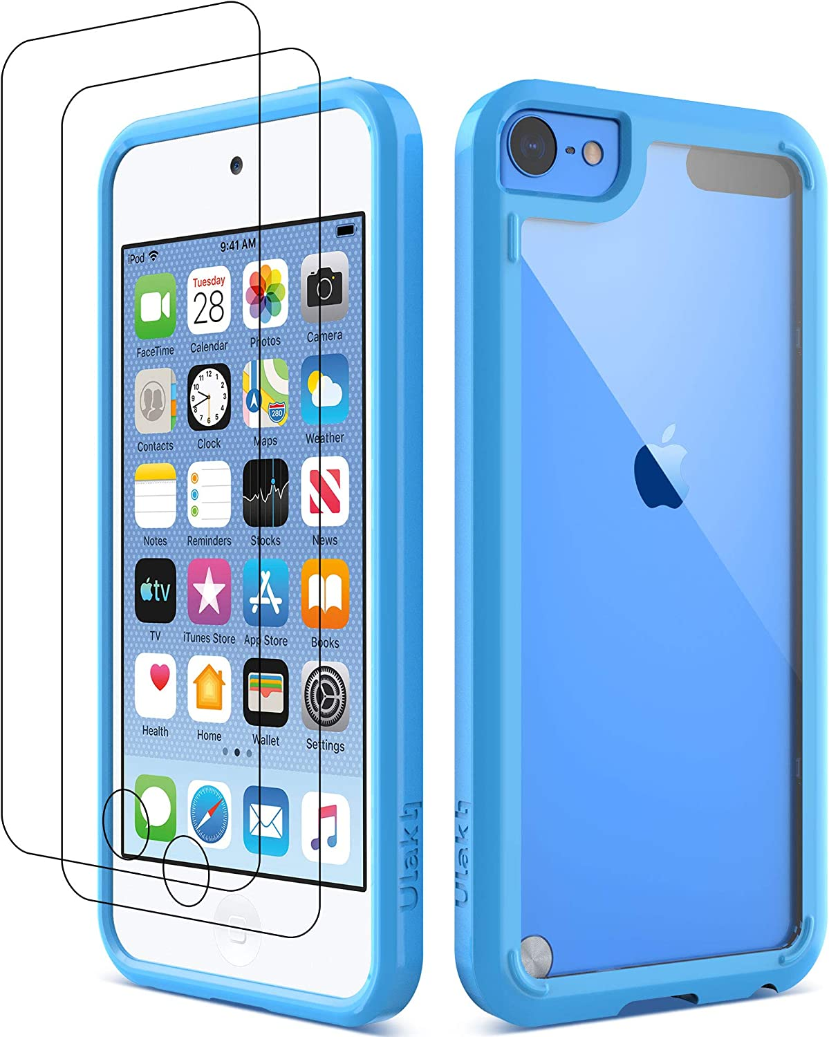 ULAK iPod Touch 7 Case, iPod Touch 6 5 Case with 2 Screen Protectors, Clear Slim Soft TPU Bumper Hard Case for Apple iPod Touch 5 / 6th / 7th Generation (Latest Model 2019 Released), Blue