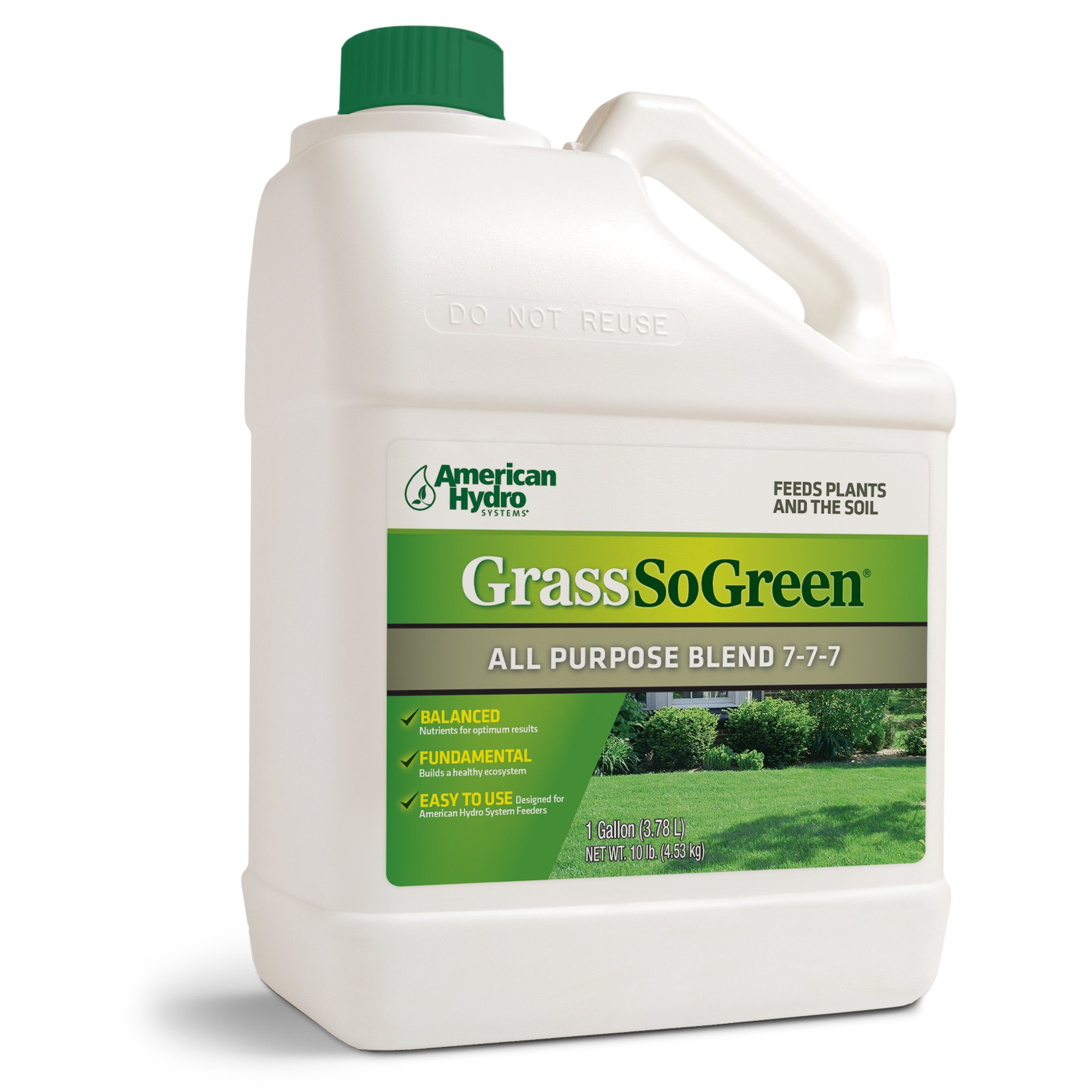 Grass So Green 7-7-7 F4G Formula is an Environmentally-Friendly Liquid Fertilizer that is Applied Through an American Hydro Systems Feeder System in Continuous, Small Doses. by American Hydro Systems