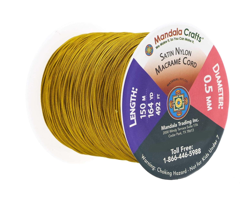 Beading Jewelry Making Kumihimo 0.5mm 164 Yards, Gold Mandala Crafts Nylon Satin Cord Rattail Trim Thread for Chinese Knotting Macram/é Sewing