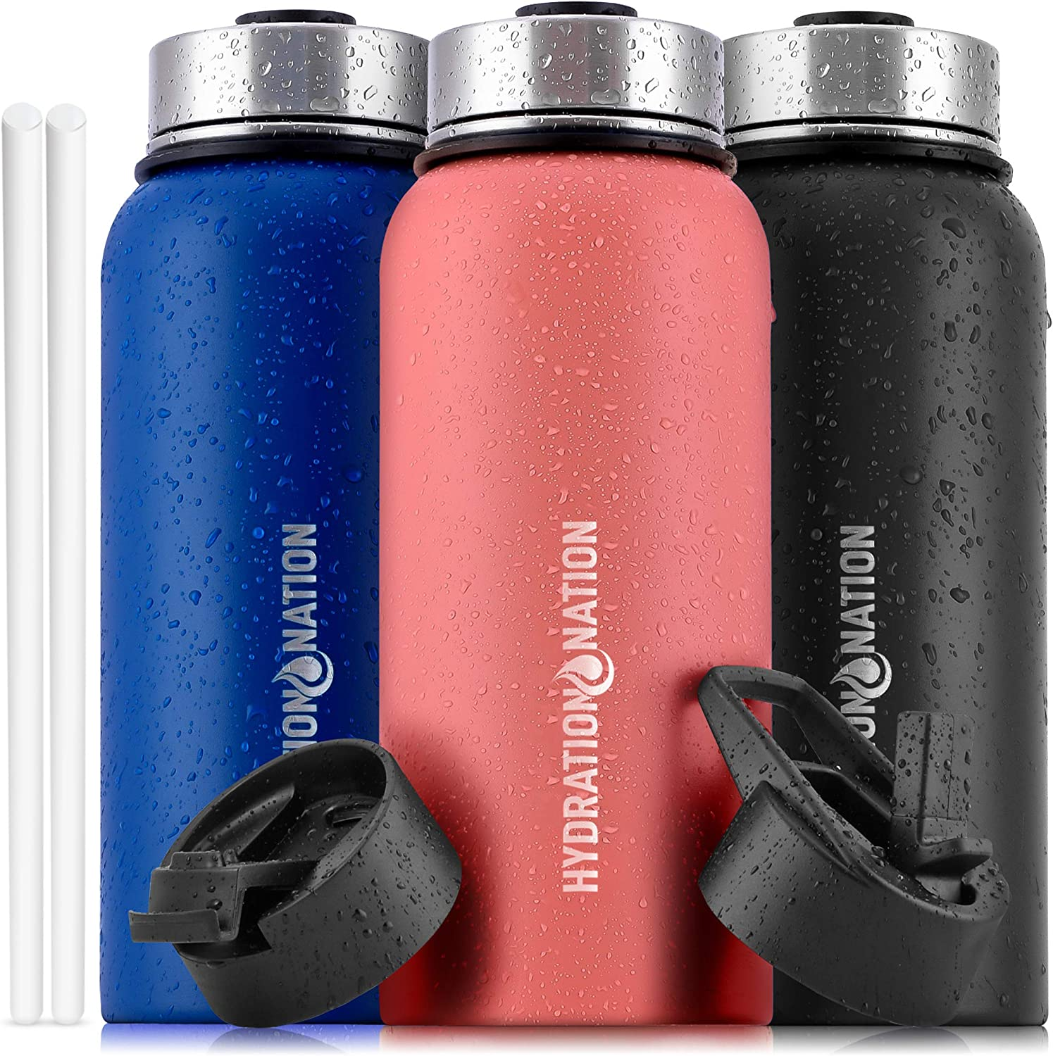 Hydration Nation (40oz) Vacuum Insulated Water Bottle - Durable Metal Water Bottle For Sports & Outdoor - Thermo Stainless Steel Water Bottle With Straw & 3 Lids For Hot & Cold Drinks (Peach)