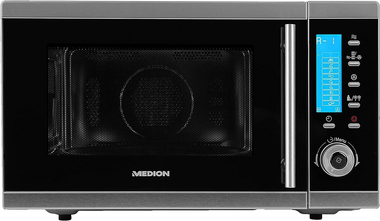 MEDION MD 15501 Encimera - Microondas (Encimera, Microondas combinado, 25 L, 900 W, Botones, Giratorio, Negro, Acero inoxidable)