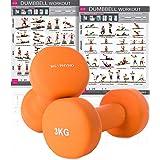 KG | PHYSIO Manubri in neoprene per Donna e Uomo ( i pesi vengono in coppia) GRATUITO Poster da parete A3 a doppio lato! Ideale per l'allenamento a casa, arancione (2) x 3 Kg