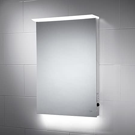 lule led bathroom mirror 500mm x 700mm with built in shaver socket