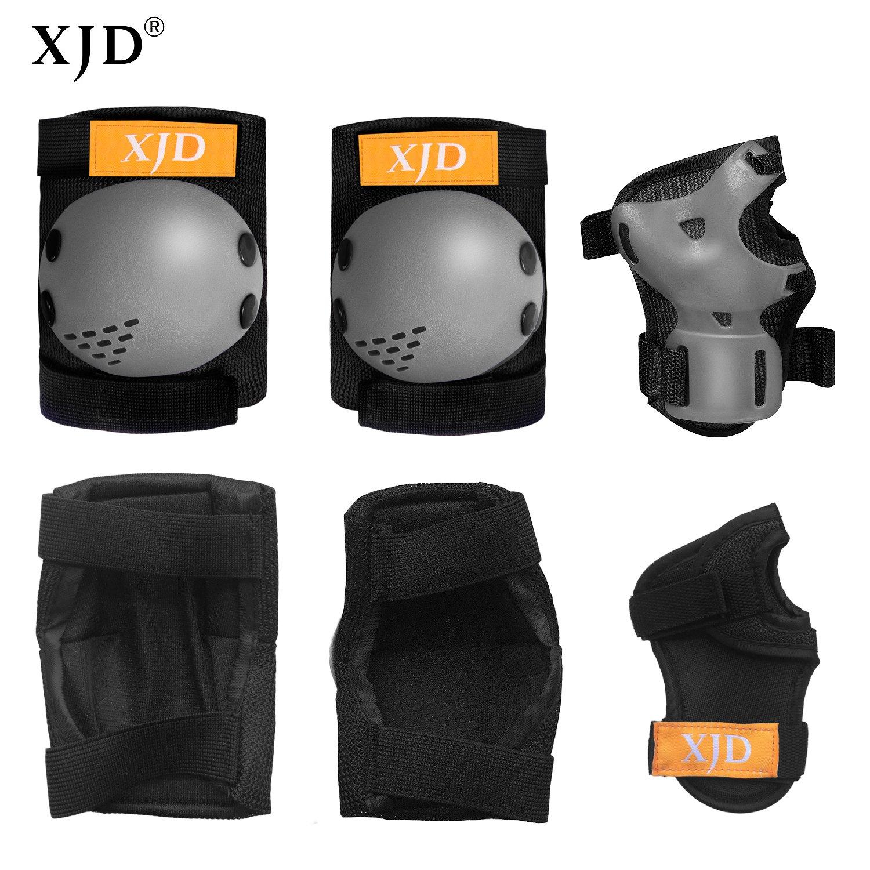 XJD Set De Protection Enfants 6Pcs Ensemble de Genouill/ères Coudi/ères Prot/ège-Poignets pour Filles Gar/çons 3-13 Ans V/élo BMX Roller Skateboard