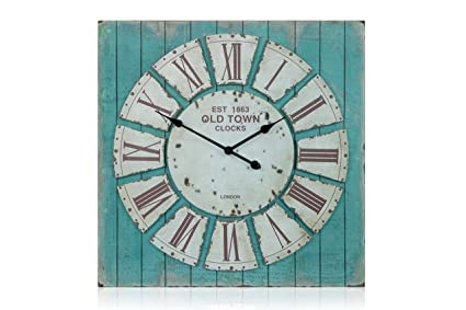 Amazon.com: Oversized Square Rustic Decorative Wall Clock: Home ...