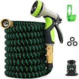 Zalotte Expandable Garden Hose with 9 Function Nozzle, Leakproof Lightweight Expanding Garden Water Hose with Solid Brass Fittings, Extra Strength 3750D Durable Gardening Flexible Hose Pipe(25ft)