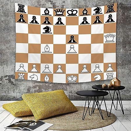 Tapestry,Hippie Tapiz,tapiz de pared con decoración para el hogar,Juego de mesa, Posición de apertura en el tablero de ajedrez Letras Núme,para picnic Mantel o Toalla de Playa redonda 150 x 200 cm: