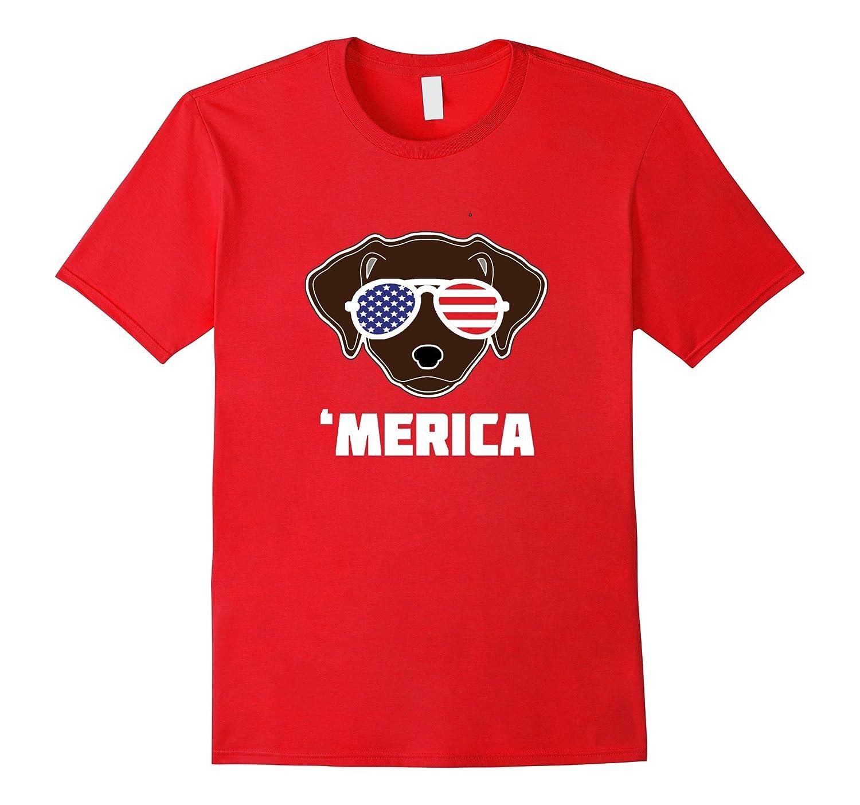 Patriotic Chocolate Labrador 'Merica TShirt, T Shirt, Tee-Art
