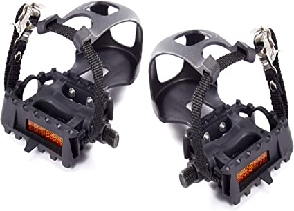 2 Sets Black Cycling Road  Mountain Bicycle Toe Clip With Strap For Bike Pedal D
