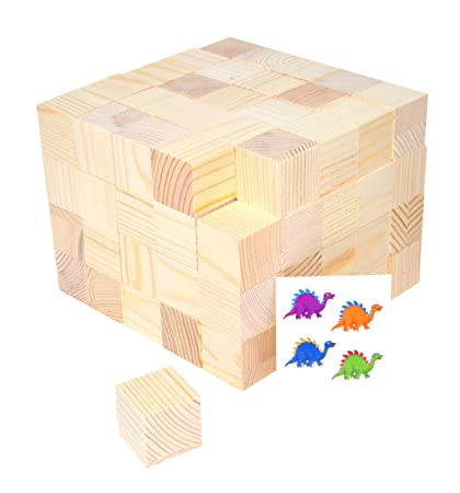 Mandala Crafts Wooden Block Wood Cube Set For Toddlers Kids Puzzles Baby Showers Diy Crafting Projects 100 Pieces 1 Inch