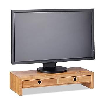Relaxdays Monitorständer Aus Bambus Bildschirmerhöhung Mit 2