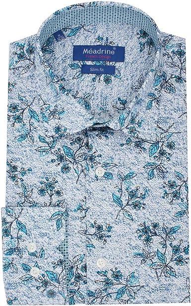 Meadrine Hombre Impreso Dibujo Flores Cuadrado Turquesa Azul oposiciones Corte Slim Fit Camisa: Amazon.es: Ropa y accesorios