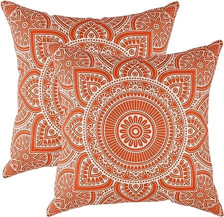 TreeWool - Pack de 2 - Mandala Acento Decorativo Fundas de cojín, 100% algodón (50 x 50 cm / 20 x 20 Pulgadas, Naranja): Amazon.es: Hogar