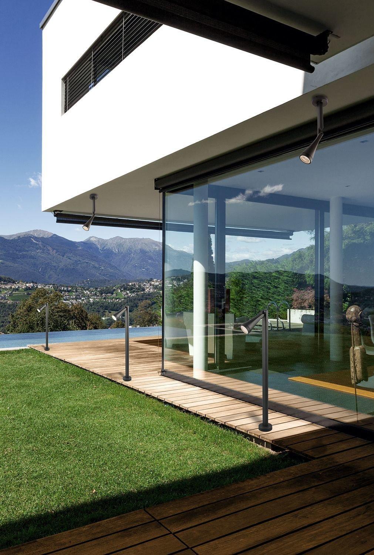 Aplique exterior gris aluminio cristal pantalla regulable Lámpara ...