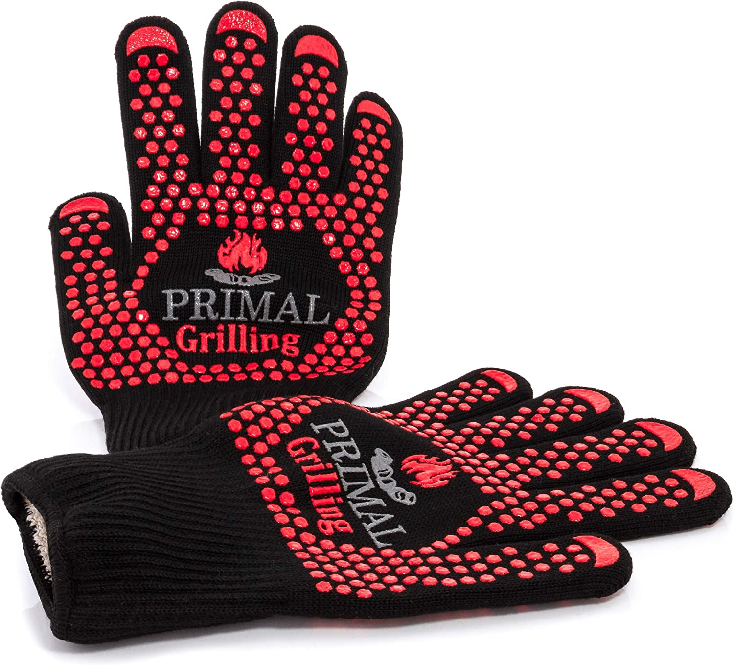 Primal Grilling Gloves, Ultra Heat Resistant Grill & Oven Mitts, Virtually Fireproof Cooking Gloves Designed to Withstand Temps up to 1472 F, for BBQ, Smoking, Baking, Fire Pit & More