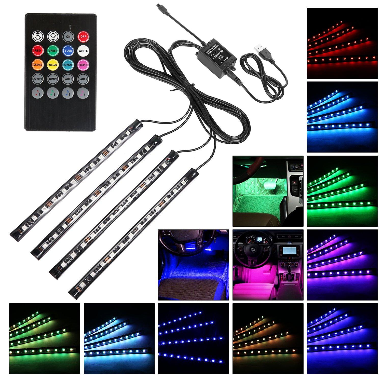 LED Auto Interni Kit, Guaiboshi Alimentato da USB Kit di Illuminazione Interno di Automobile 4 Strisce, RGB Neon Decorazione Luci Striscia con il Suono Funzione Attiva e Senza Fili di IR Remote Contro
