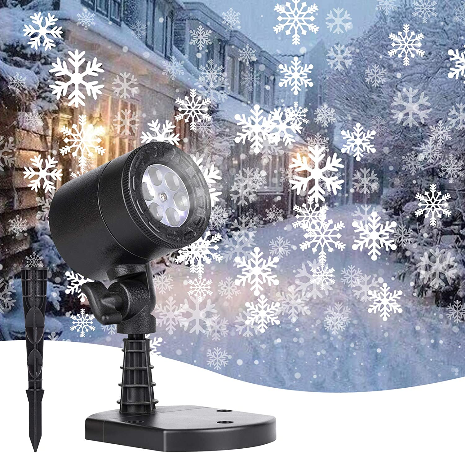 Christmas Projector Lights Outdoor, Led Snowflake Landscape Lights Waterproof Plug in Moving Effect Wall Mountable for Christmas Holiday Indoor Home Party New Year Decoration Show