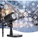Minetom Snowflake Projector Lights Outdoor LED Waterproof Plug in Moving Effect Wall Mountable for Christmas Holiday…