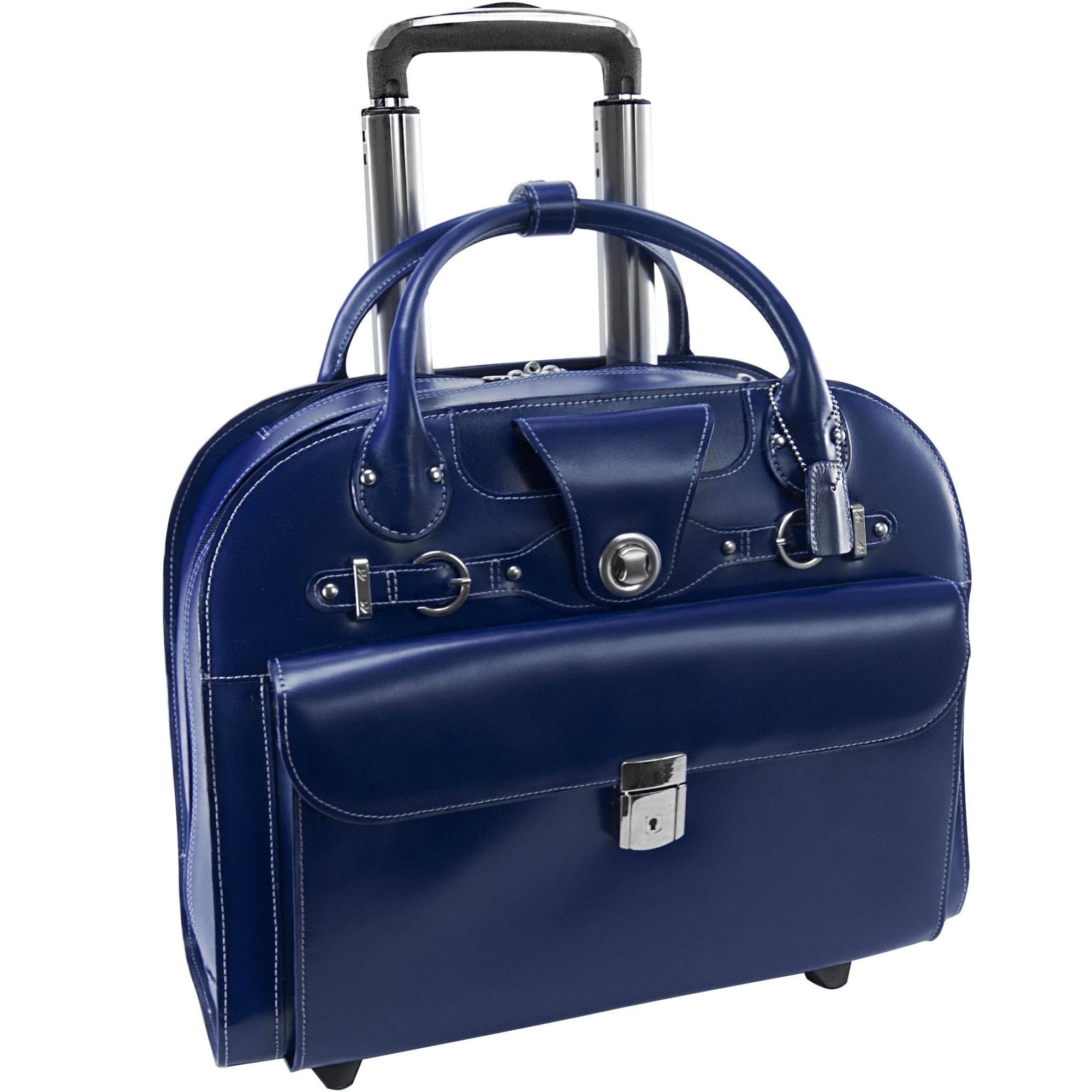 McKlein USA Edgebrook Navy 15.6'' Leather Wheeled Ladies' Laptop Case (96317)