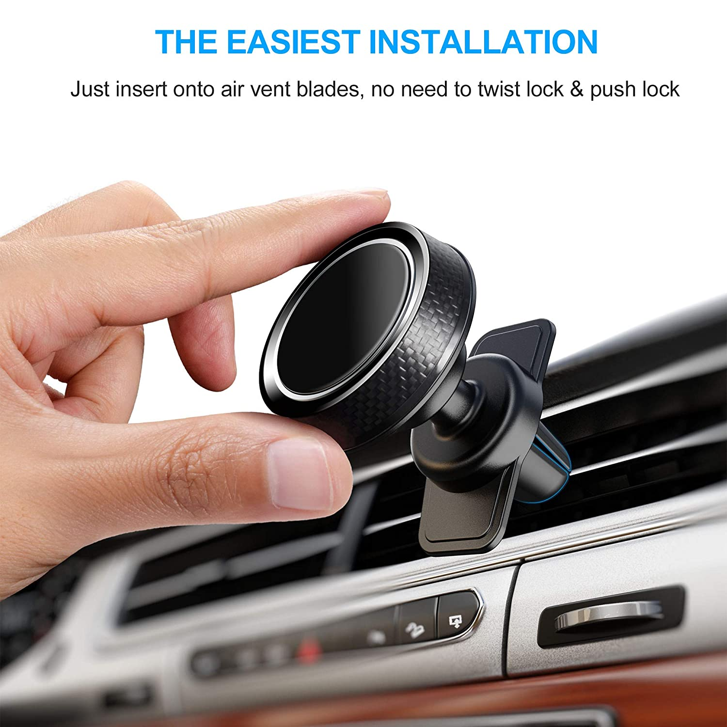 Galaxy Note 10//S10+//S9//S8 Google Pixel 3XL iCaroad Magnetic Car Mount Oneplus 7 Pro 360/°Rotation Air Vent Cell Phone Holder Universal Compatible iPhone 11 Pro Max//X//Xs//Xs Max//XR//8//7 Plus//6//5 LG