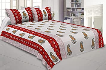 29a738d984f Buy Kuber Industries Caury Design 180 TC Cotton Double Bedsheet with 2  Pillow Covers - King