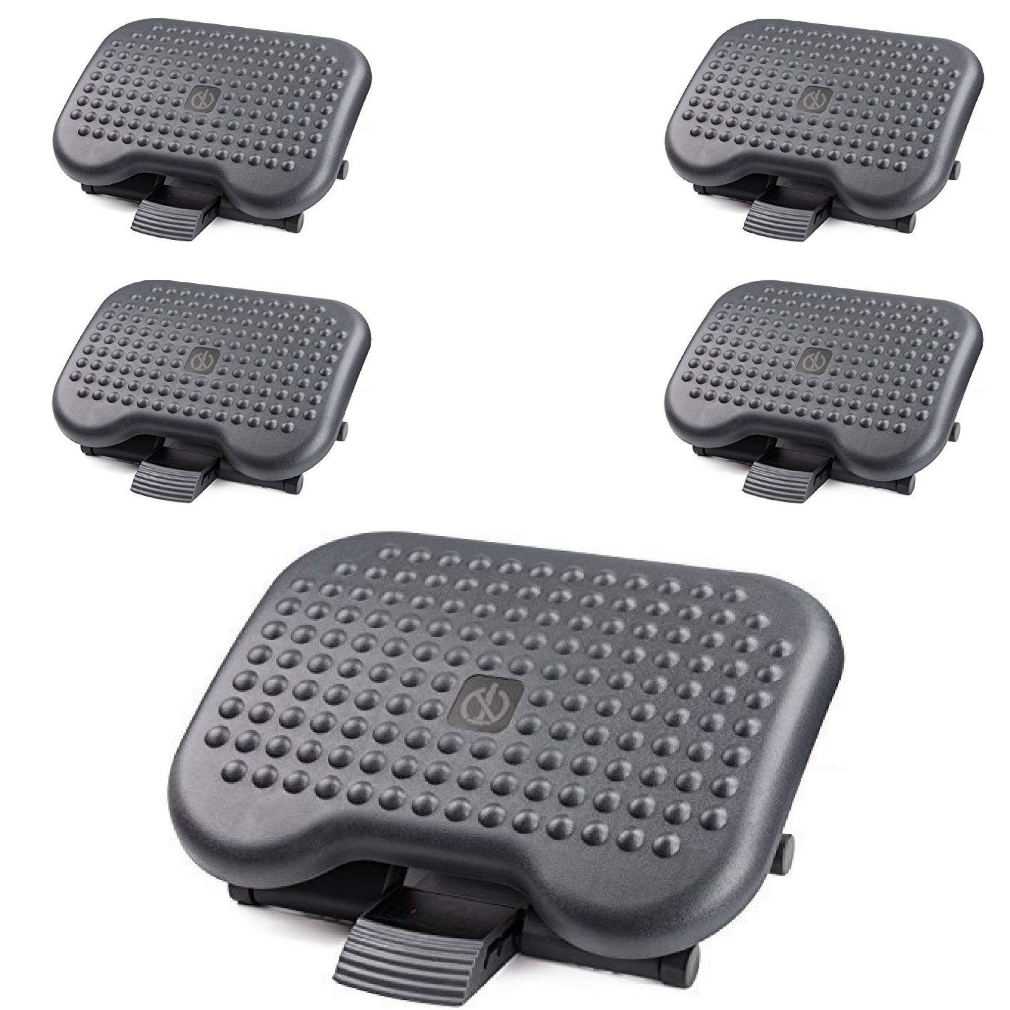 Under Desk Foot Rest, Black Footstool & Office Ergonomic Footrest, Adjustable Angle & 3 Different Height Positions, 18.1'' X 13.3'' - Great for Home & Work - 5 Pack