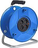 Brennenstuhl Enrouleur de câble vide Standard S, capacité 50 m, tambour vide avec 4 prises & 1 fiche (2P+T 16A/230V~), bleu, Quantité : 1